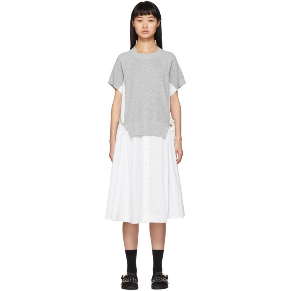 サカイ Sacai レディース ワンピース ワンピース・ドレス【White Knit Panel Dress】Black