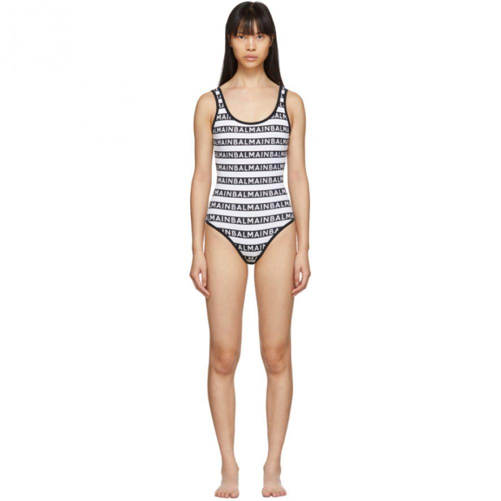 バルマン Balmain レディース ワンピース 水着・ビーチウェア【Black & White Logo Stripe One-Piece Swimsuit】Black/White