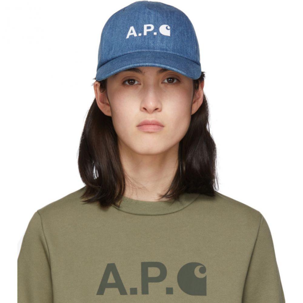 アーペーセー A.P.C. レディース キャップ 帽子【Indigo Denim Carhartt WIP Edition Logo Cap】Indigo