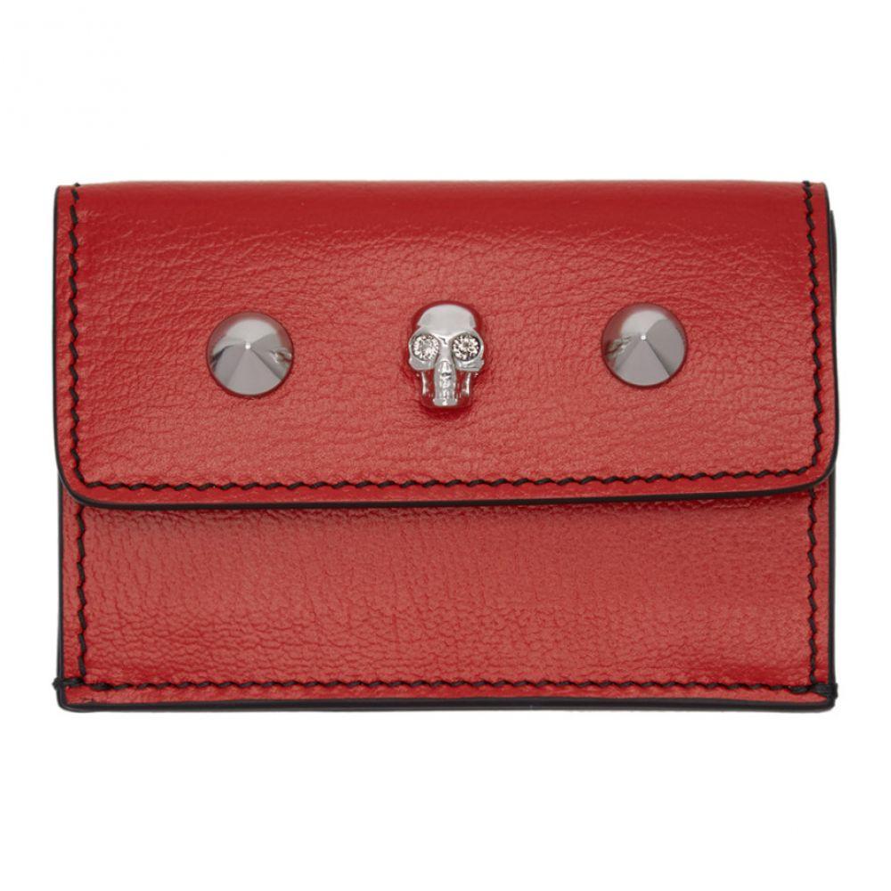 アレキサンダー マックイーン Alexander McQueen レディース 財布 【Red Mini Skull Studs Trifold Skull Wallet】Deep red