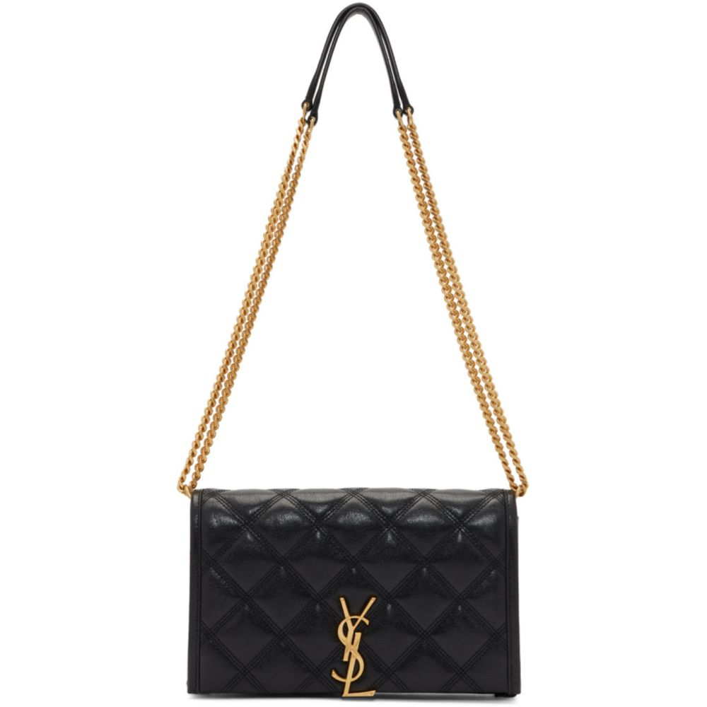 イヴ サンローラン Saint Laurent レディース 財布 【Black Becky Chain Wallet Bag】Black