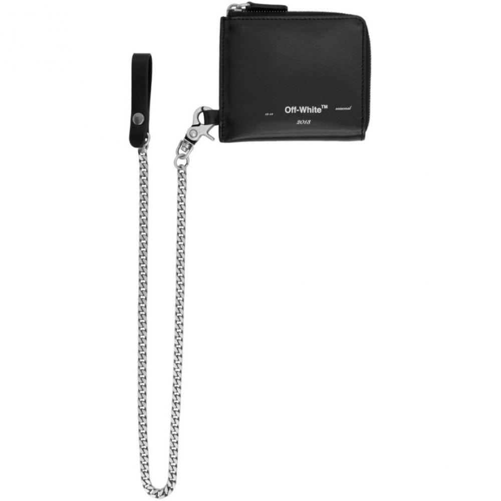 オフホワイト Off-White レディース 財布 【Black Seasonal Logo Chain Wallet】Black/White