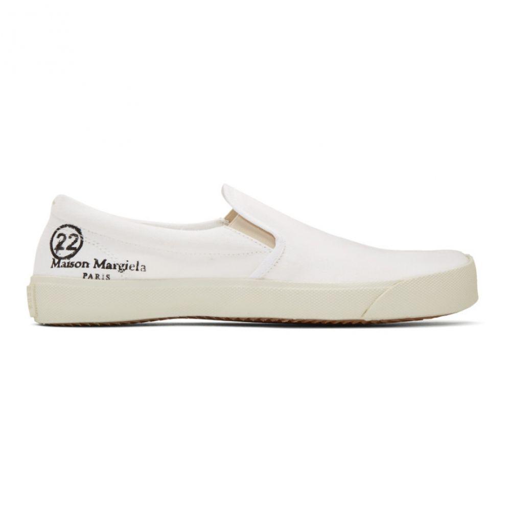 メゾン マルジェラ Maison Margiela メンズ スリッポン・フラット シューズ・靴【White Slip-On Tabi Sneakers】White