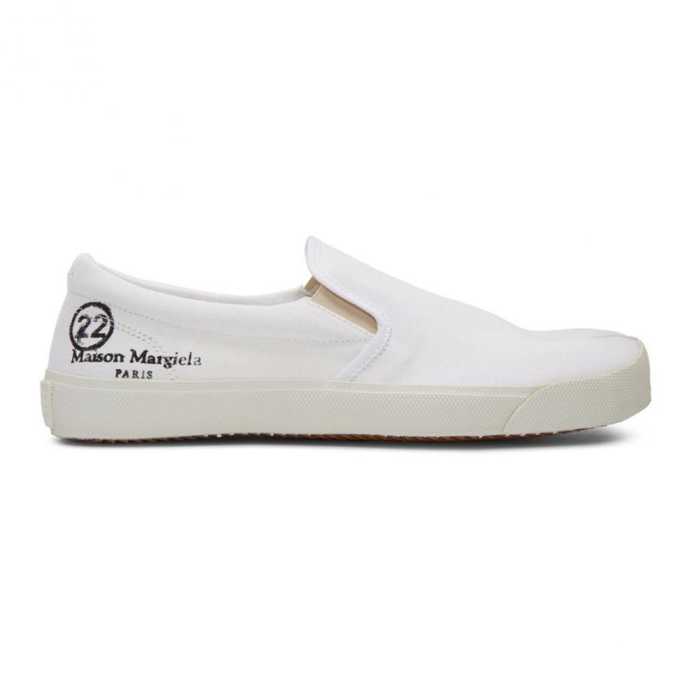 メゾン マルジェラ Maison Margiela メンズ スリッポン・フラット シューズ・靴【White Canvas Slip-On Tabi Sneakers】White