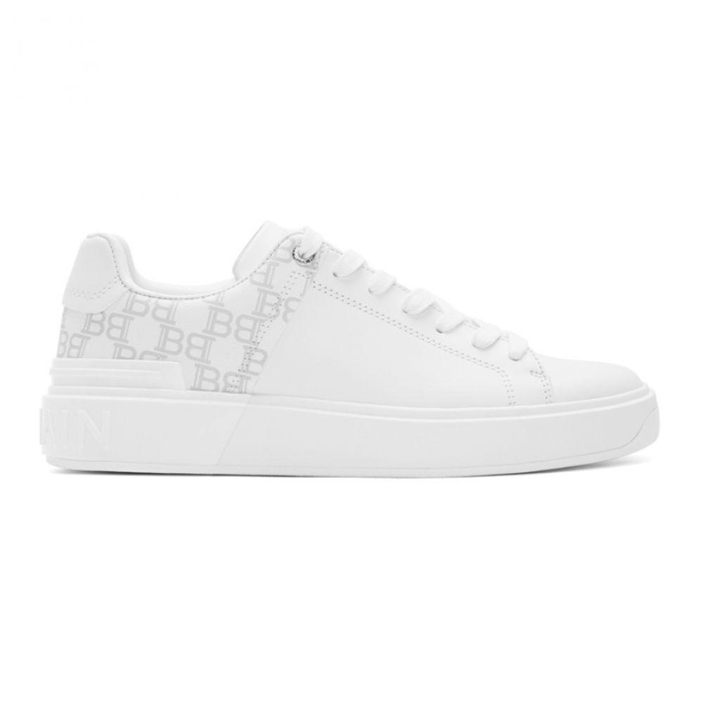 バルマン Balmain メンズ スニーカー シューズ・靴【White Logo B-Court Sneakers】White/White
