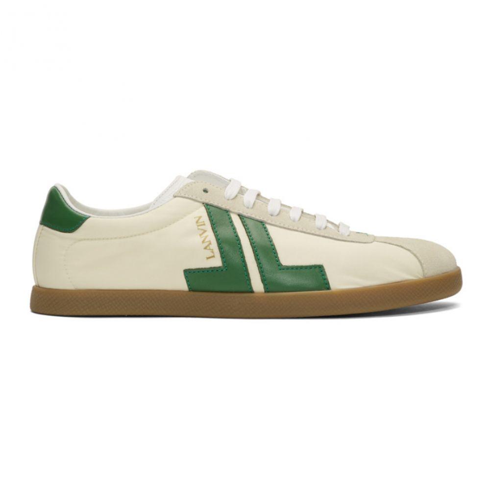 ランバン Lanvin メンズ スニーカー シューズ・靴【Off-White & Green JL Sneakers】Ecru/Green