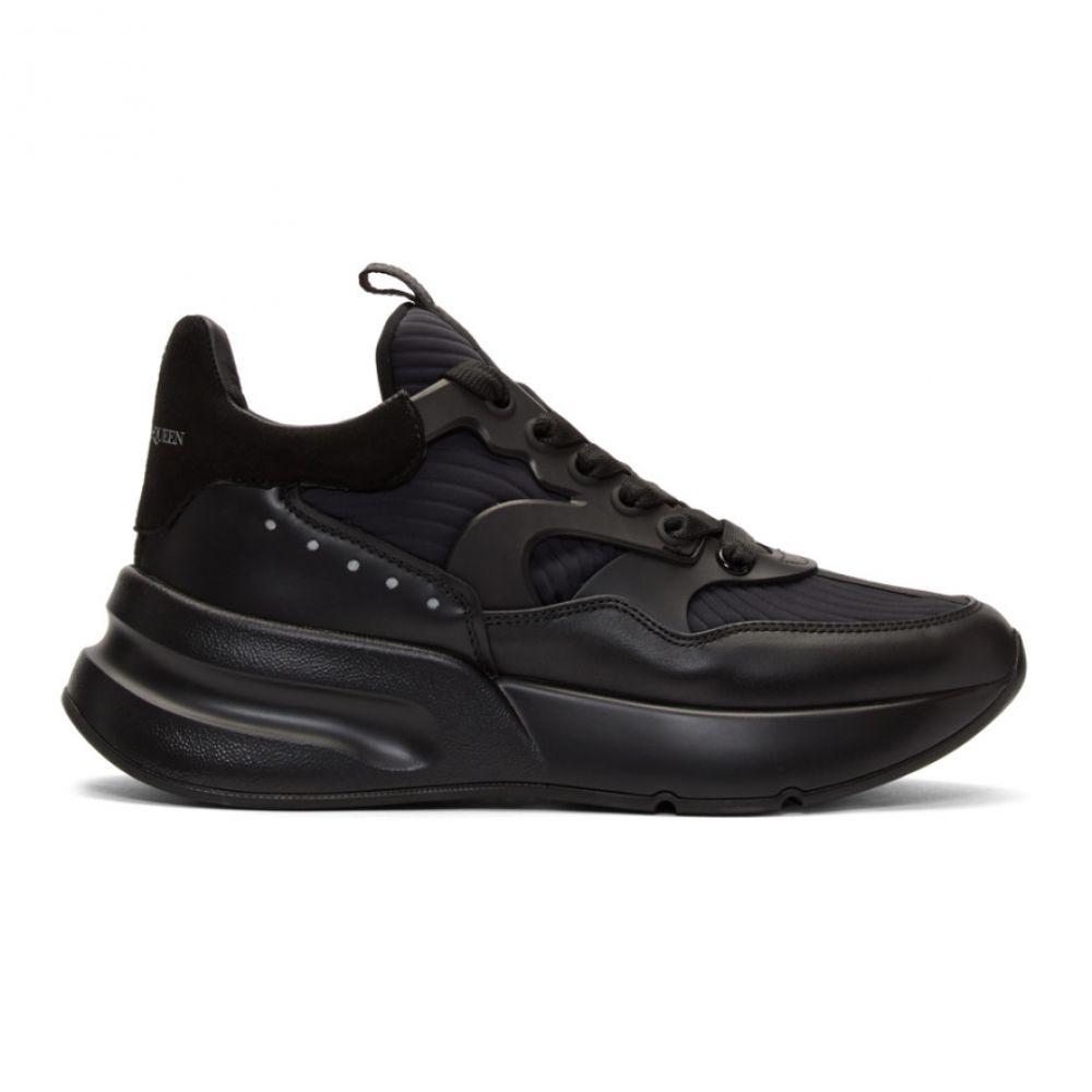 アレキサンダー マックイーン Alexander McQueen メンズ スニーカー シューズ・靴【Black Leather Sneakers】Black/Silver