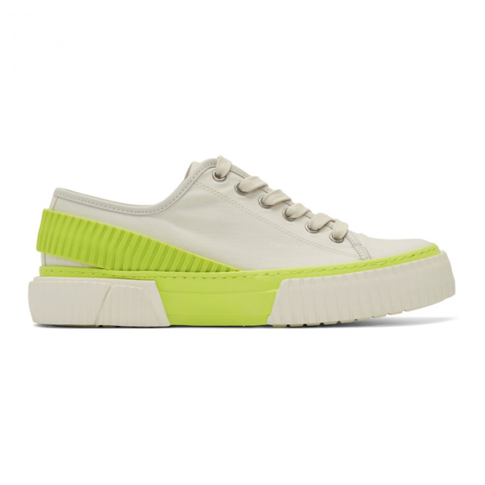 ボース both メンズ スニーカー シューズ・靴【Off-White & Yellow Pro-Tec Back Strap Sneakers】White/Neon yellow