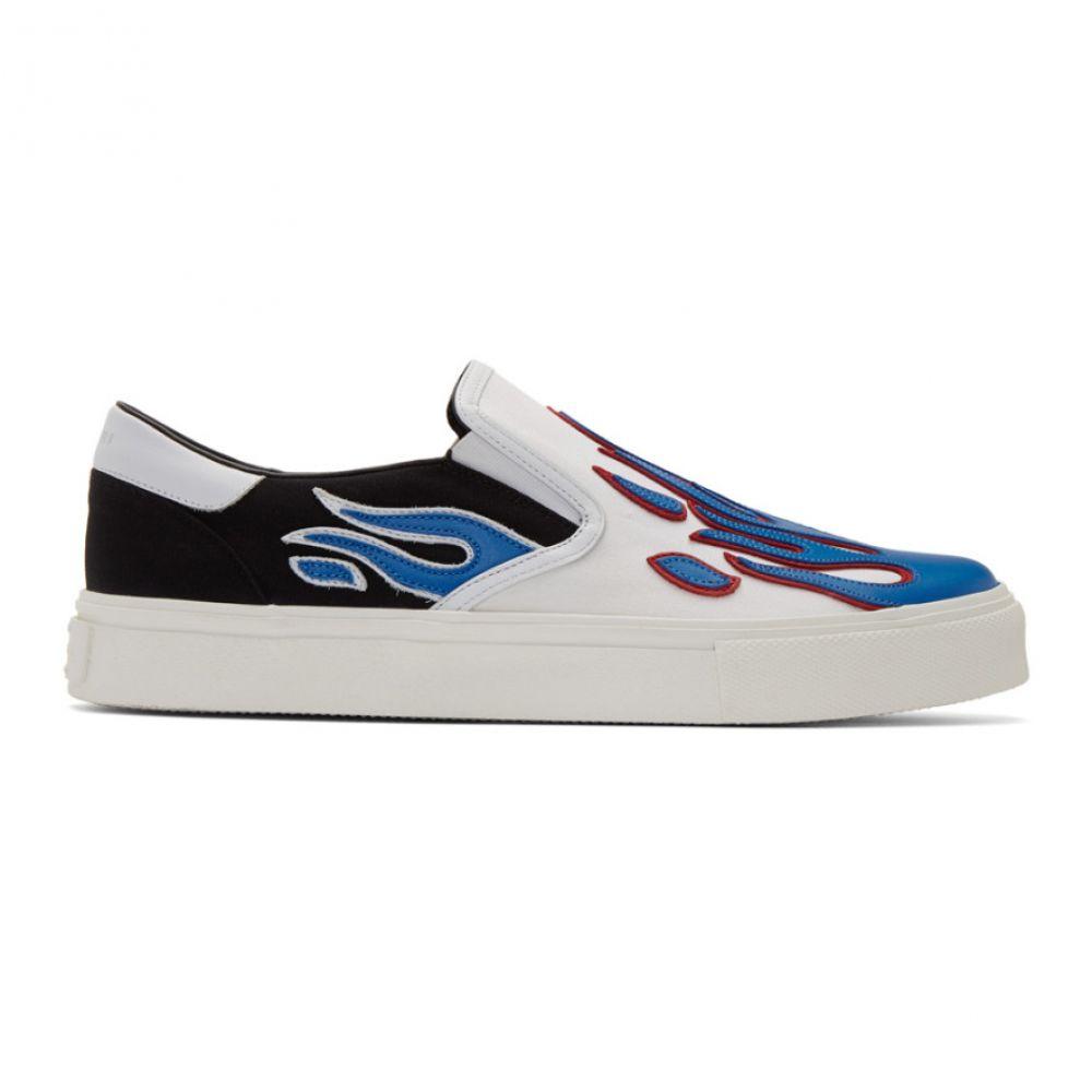 アミリ Amiri メンズ スリッポン・フラット シューズ・靴【White & Blue Flame Slip-On Sneakers】BWB