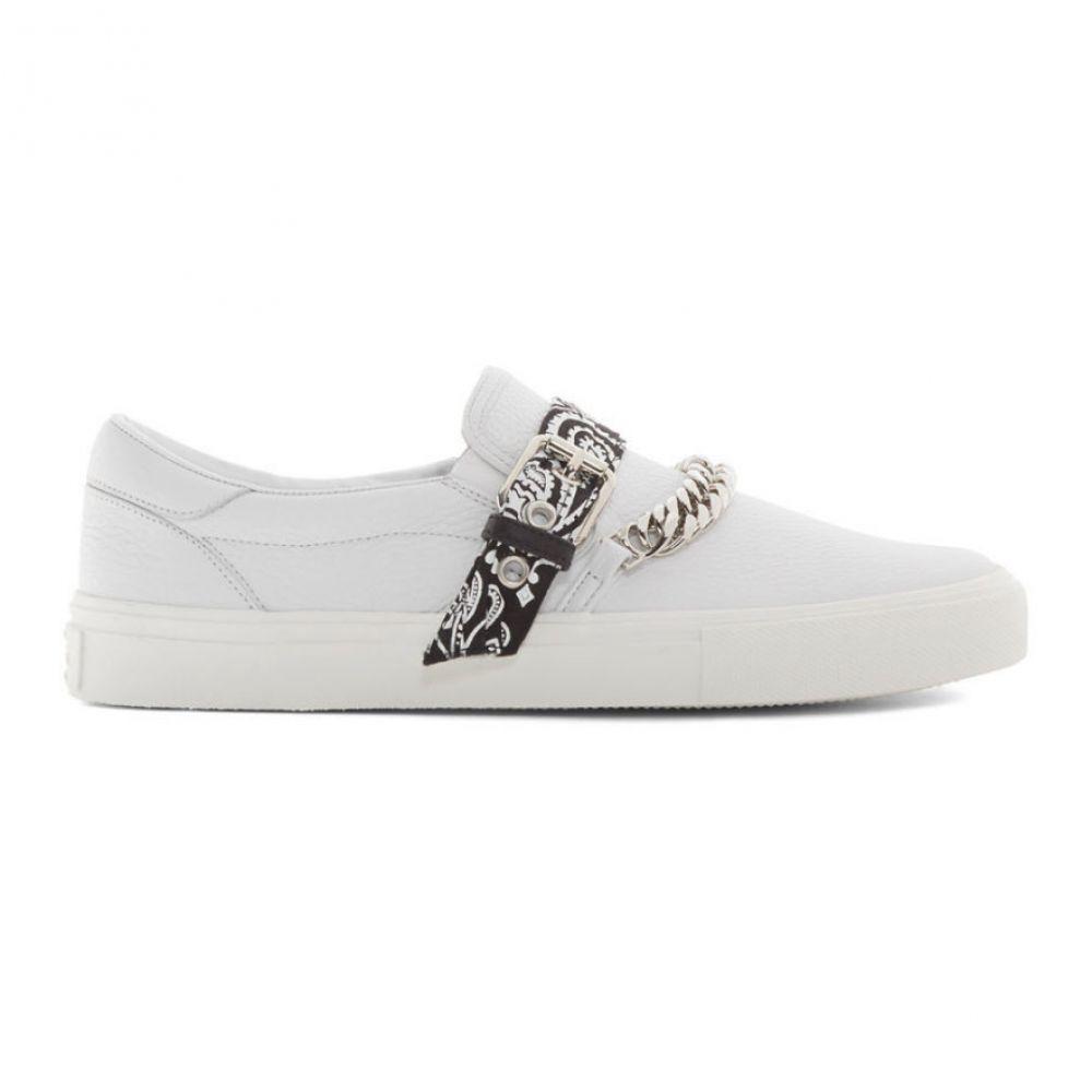アミリ Amiri メンズ スリッポン・フラット シューズ・靴【White Bandana Chain Slip-On Sneakers】White