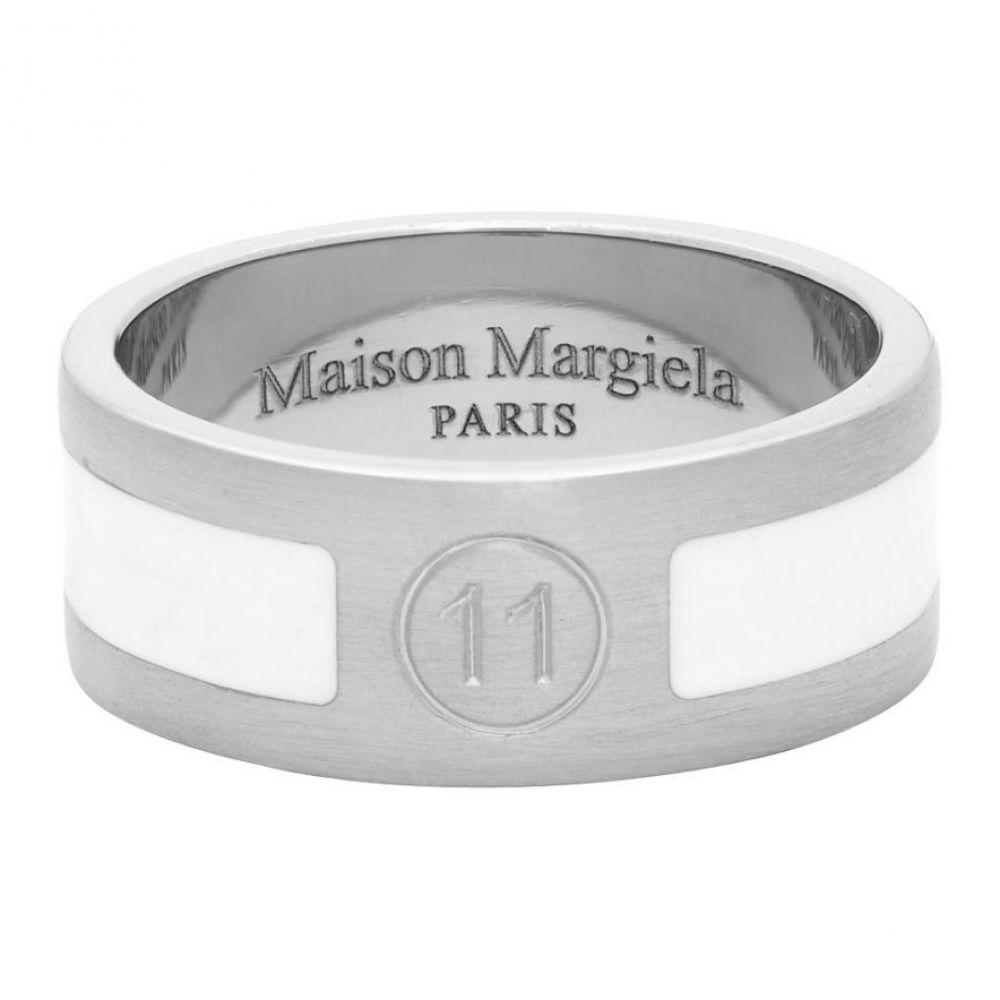 メゾン マルジェラ Maison Margiela メンズ 指輪・リング ジュエリー・アクセサリー【Silver & White Enameled Logo Ring】Silver/White