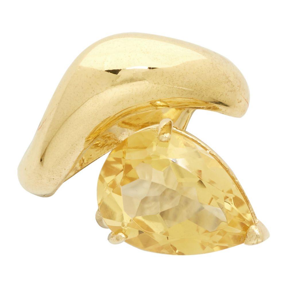 アラン クロセッティ Alan Crocetti メンズ イヤリング・ピアス イヤーカフ ジュエリー・アクセサリー【SSENSE Exclusive Gold & Yellow Citrine Single Right Drop Ear Cuff】Citrine