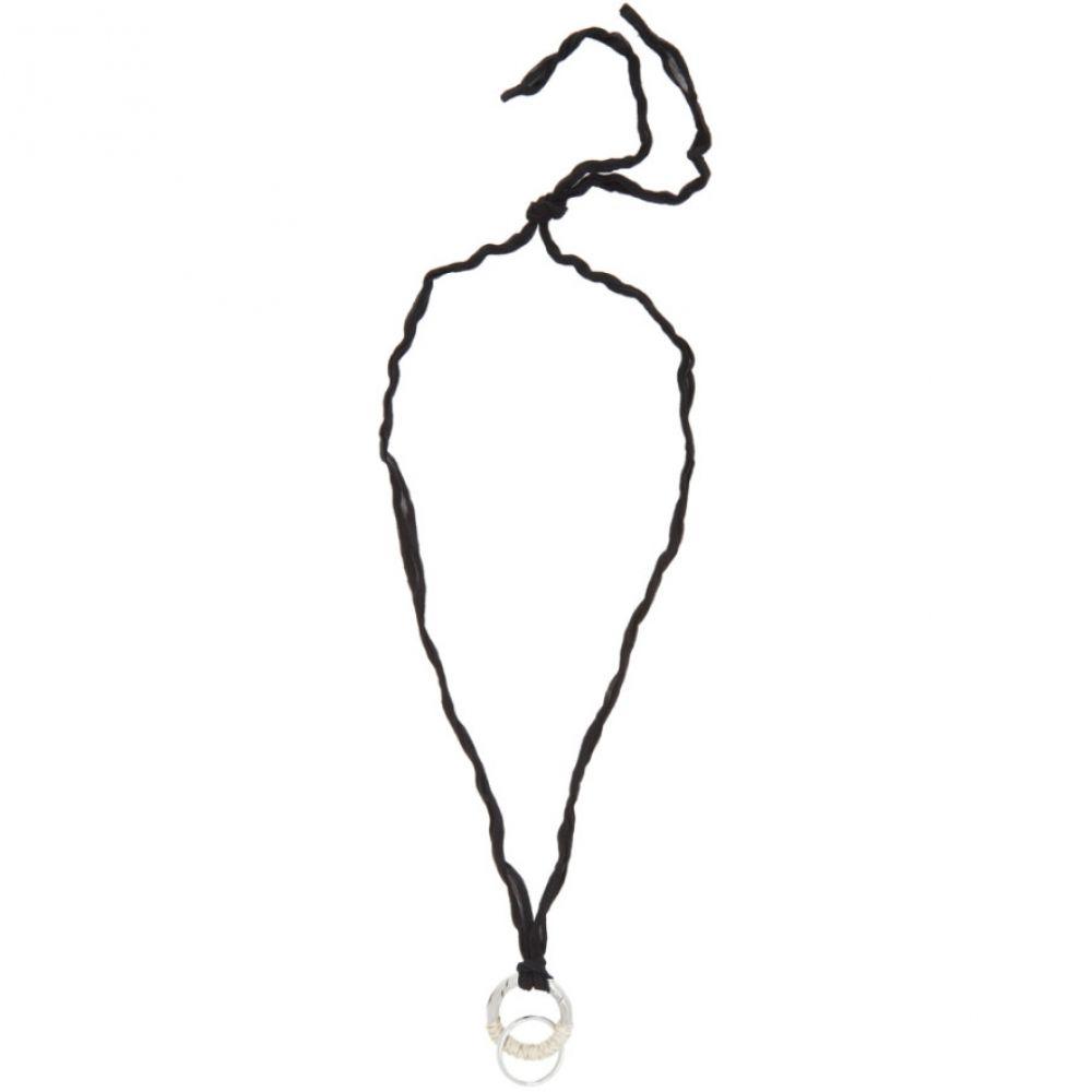 ジル サンダー Jil Sander メンズ ネックレス ジュエリー・アクセサリー【Black & Silver Wrap Necklace】Black