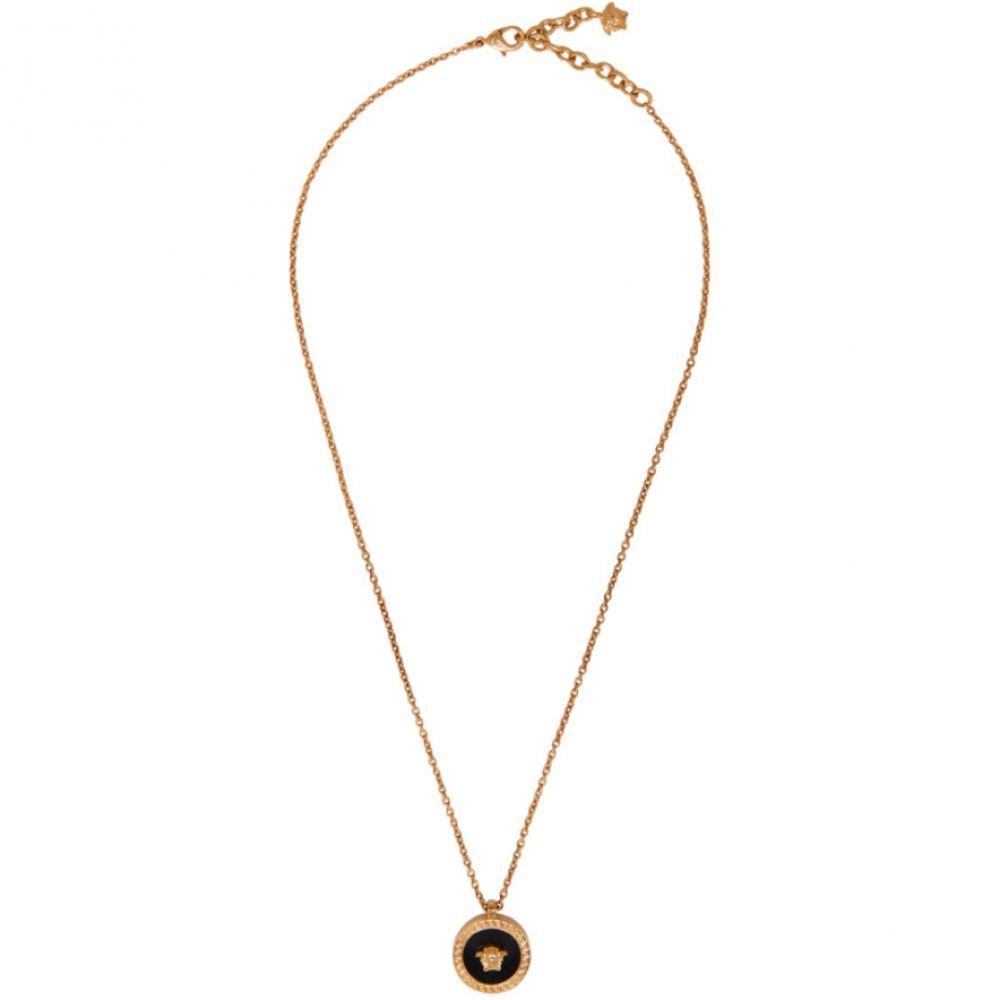 ヴェルサーチ Versace メンズ ネックレス メデューサ ジュエリー・アクセサリー【Gold & Black Resin Medusa Necklace】Gold/Black