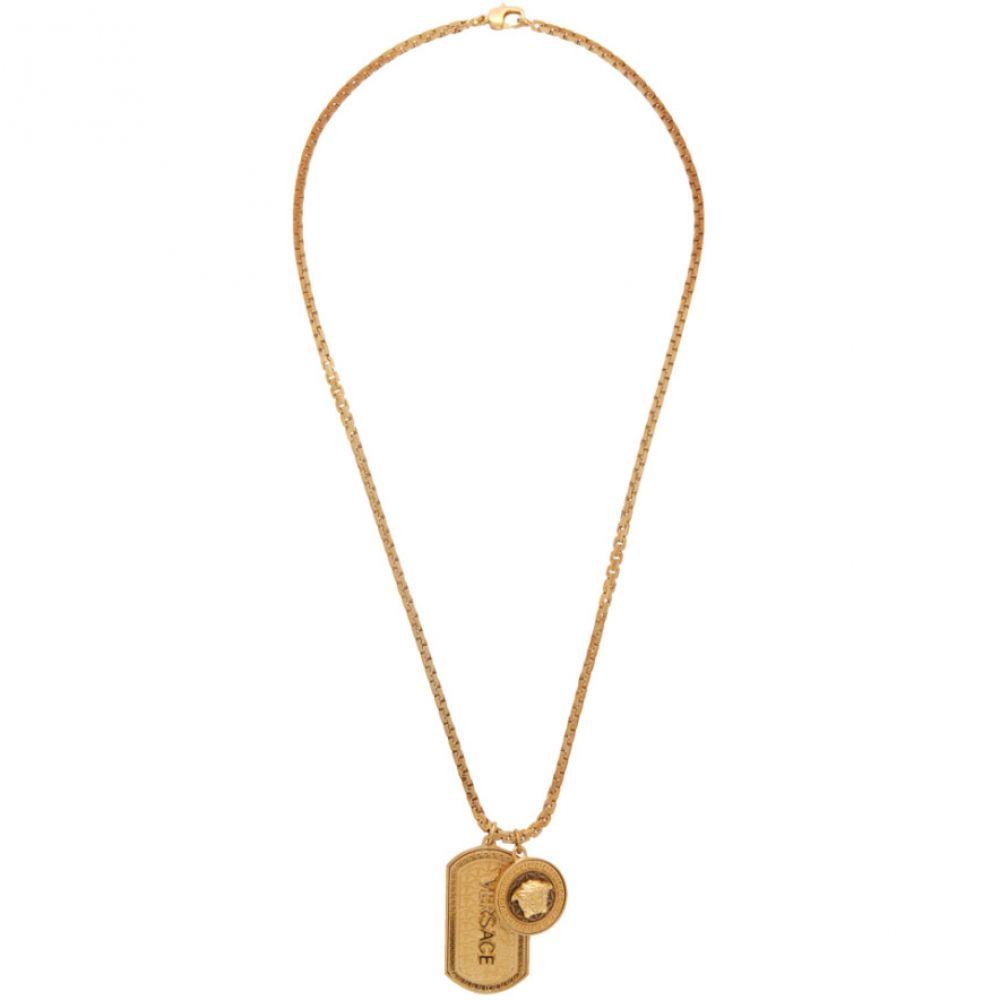 ヴェルサーチ Versace メンズ ネックレス ドッグタグ ジュエリー・アクセサリー【Gold Dog Tag Necklace】Gold