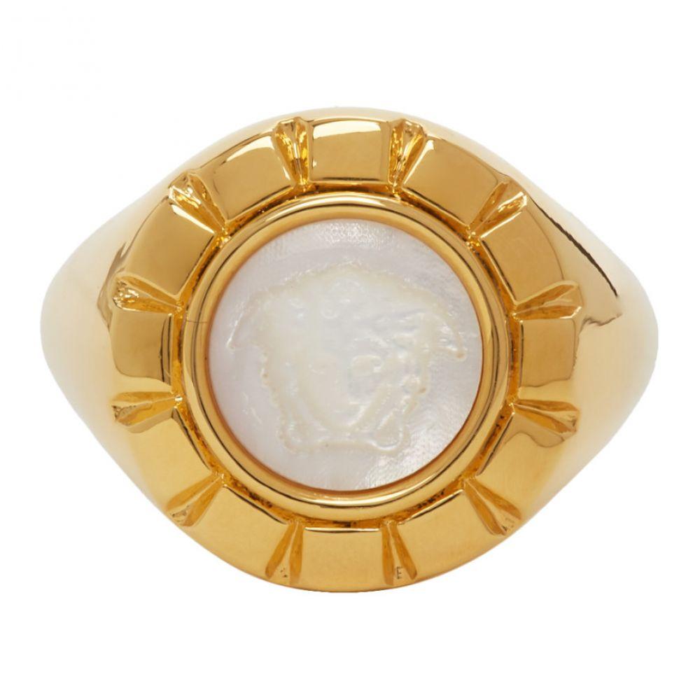 ヴェルサーチ Versace メンズ 指輪・リング ジュエリー・アクセサリー【Gold & White Palazzo Ring】Gold