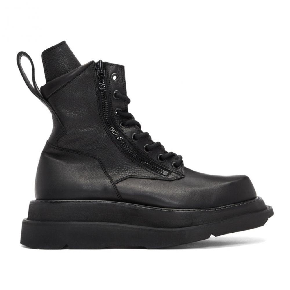 ユリウス Julius メンズ ブーツ コンバットブーツ シューズ・靴【Black Wide Sole Combat Boots】Black
