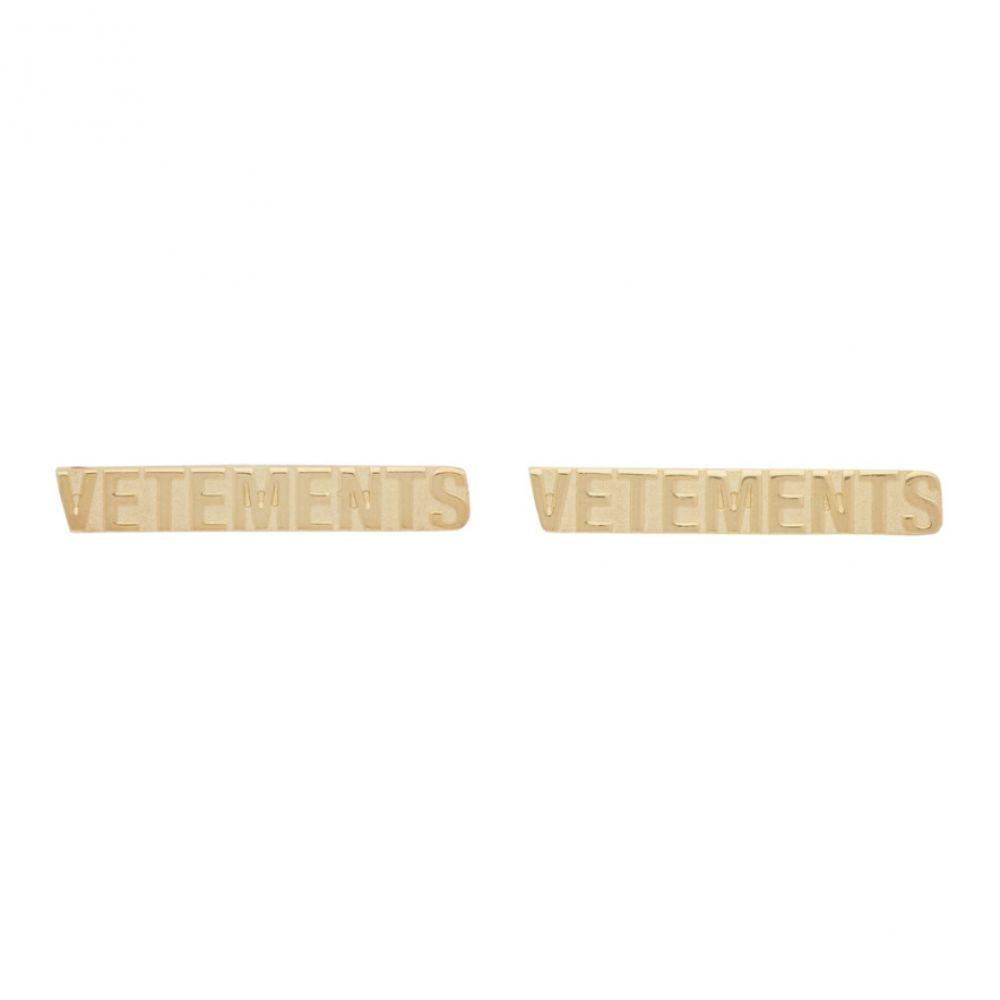 ヴェトモン VETEMENTS メンズ イヤリング・ピアス ジュエリー・アクセサリー【Gold Logo Stud Earrings】Gold