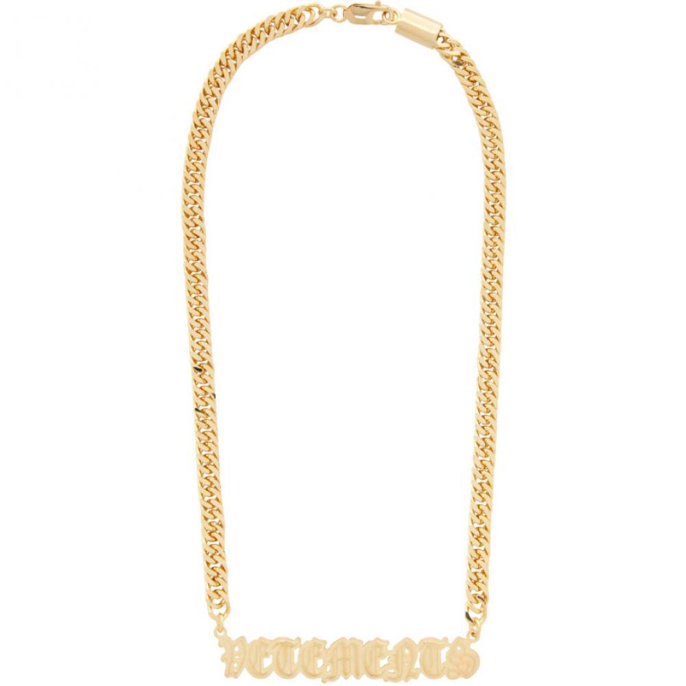 ヴェトモン VETEMENTS メンズ ネックレス ジュエリー・アクセサリー【Gold Gothic Logo Necklace】Gold