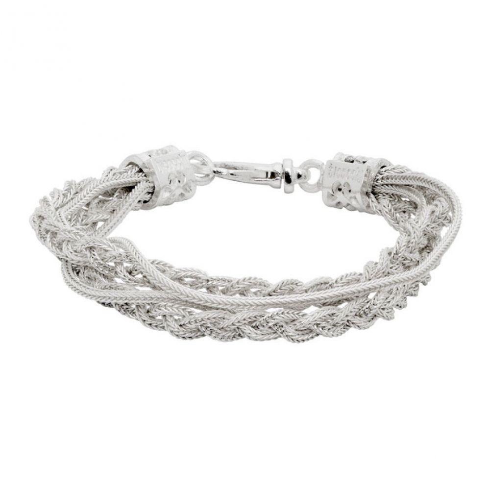 エマニュエレ ビコッキ Emanuele Bicocchi メンズ ブレスレット ジュエリー・アクセサリー【White Double Chain & Braided Bracelet】White