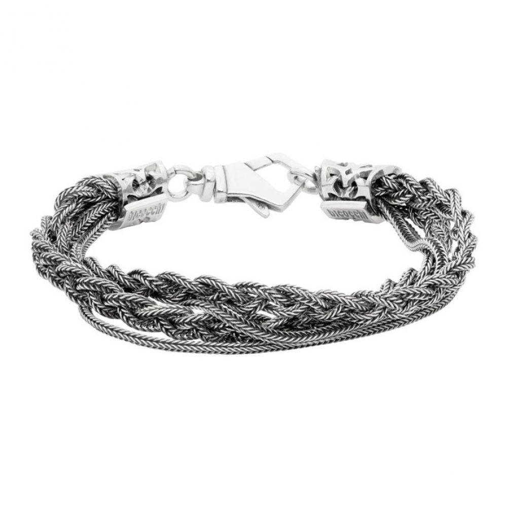 エマニュエレ ビコッキ Emanuele Bicocchi メンズ ブレスレット ジュエリー・アクセサリー【Silver Double Chain & Braided Bracelet】Silver