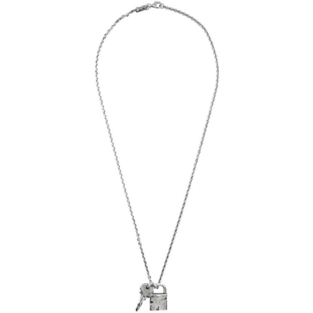 エマニュエレ ビコッキ Emanuele Bicocchi メンズ ネックレス ジュエリー・アクセサリー【SSENSE Exclusive Silver Padlock & Key Necklace】Silver