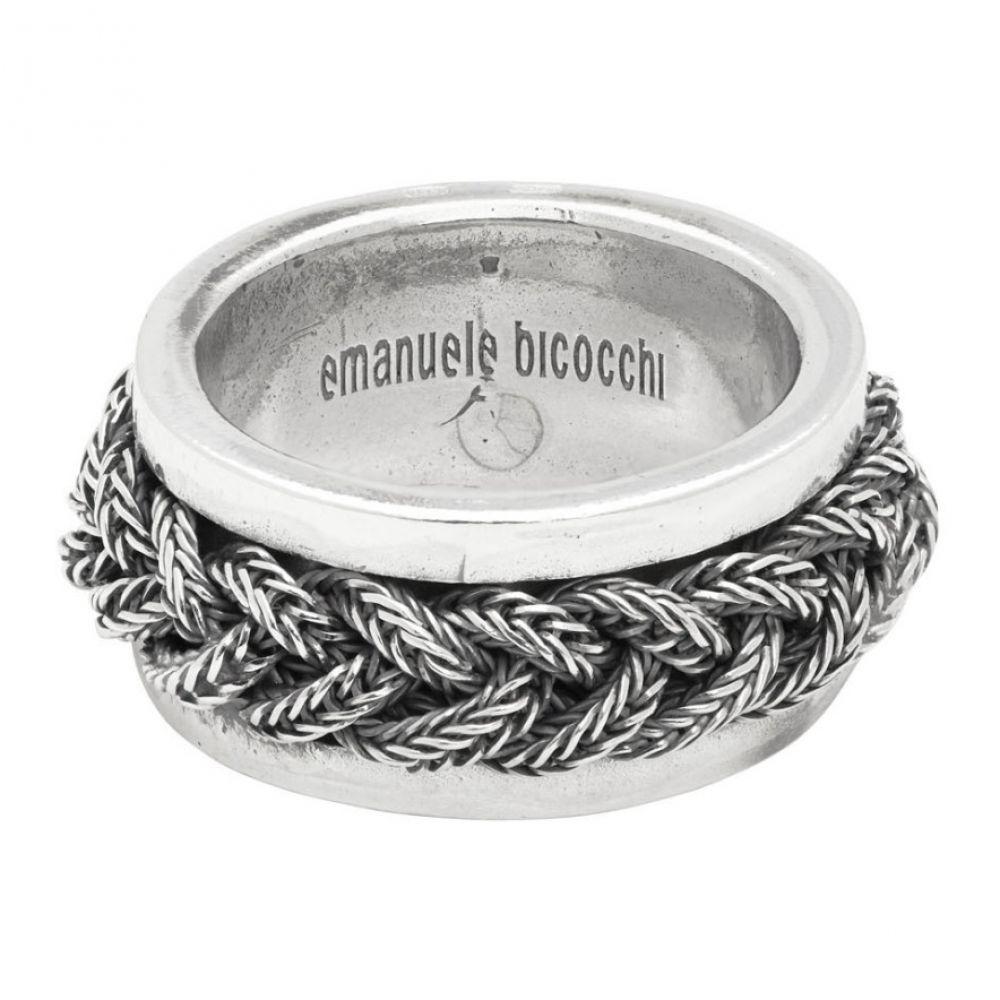 エマニュエレ ビコッキ Emanuele Bicocchi メンズ ブレスレット ジュエリー・アクセサリー【Silver Braided Band Bracelet】Silver