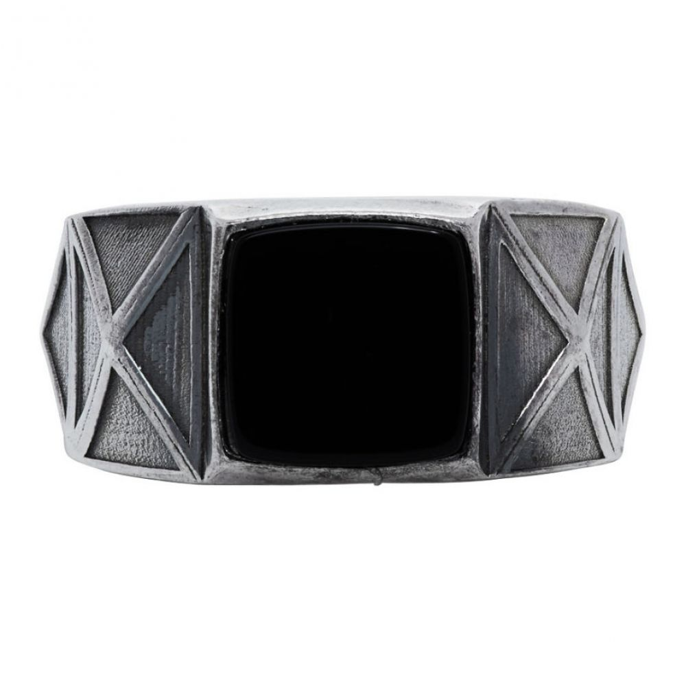 エマニュエレ ビコッキ Emanuele Bicocchi メンズ 指輪・リング ジュエリー・アクセサリー【Silver & Black Square Stone Ring】Silver