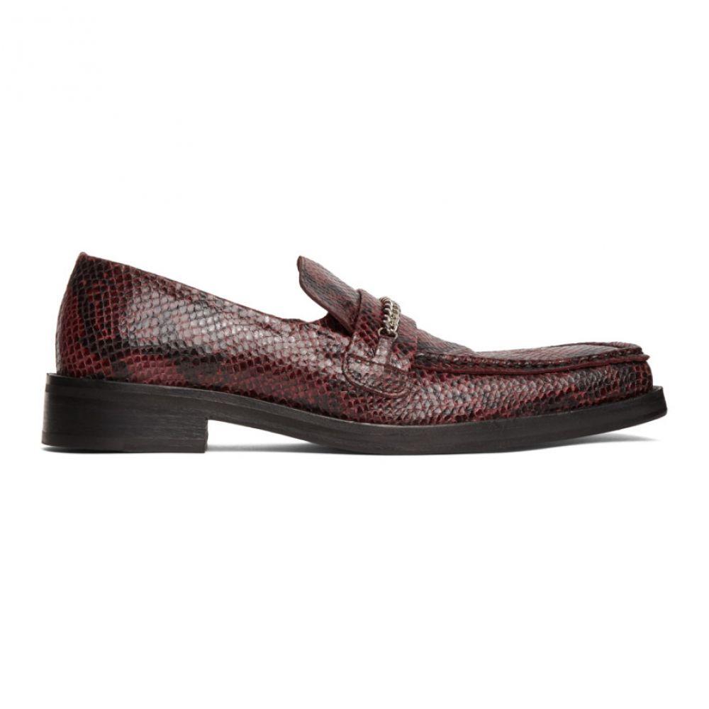 マーティン ローズ Martine Rose メンズ ローファー スクエアトゥ シューズ・靴【Red Embossed Square Toe Loafers】Red