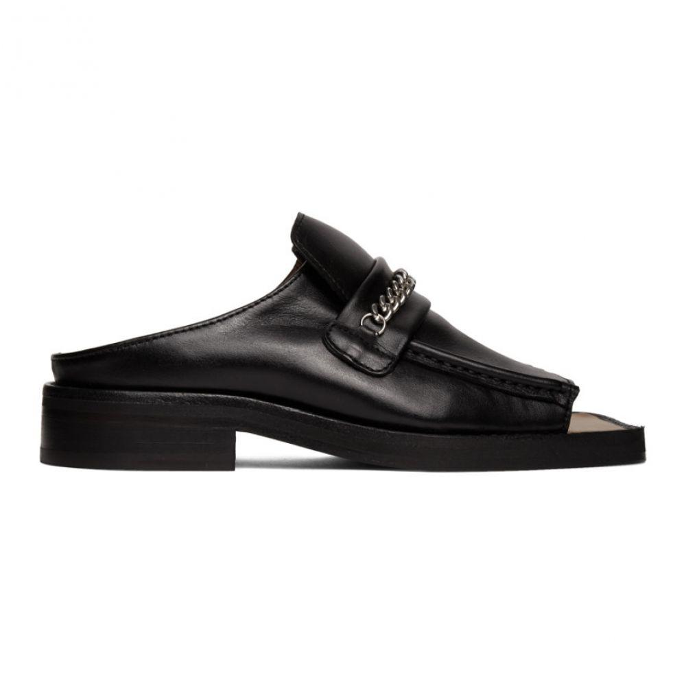 マーティン ローズ Martine Rose メンズ ローファー オープントゥ シューズ・靴【Black Open Toe Loafers】Black