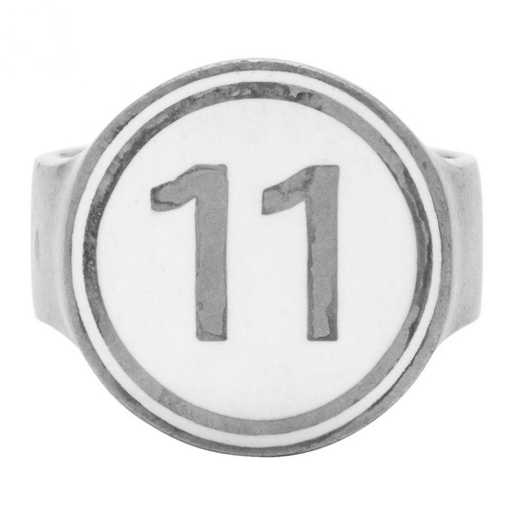 メゾン マルジェラ Maison Margiela メンズ 指輪・リング ジュエリー・アクセサリー【Silver Enameled Logo Ring】Silver/White