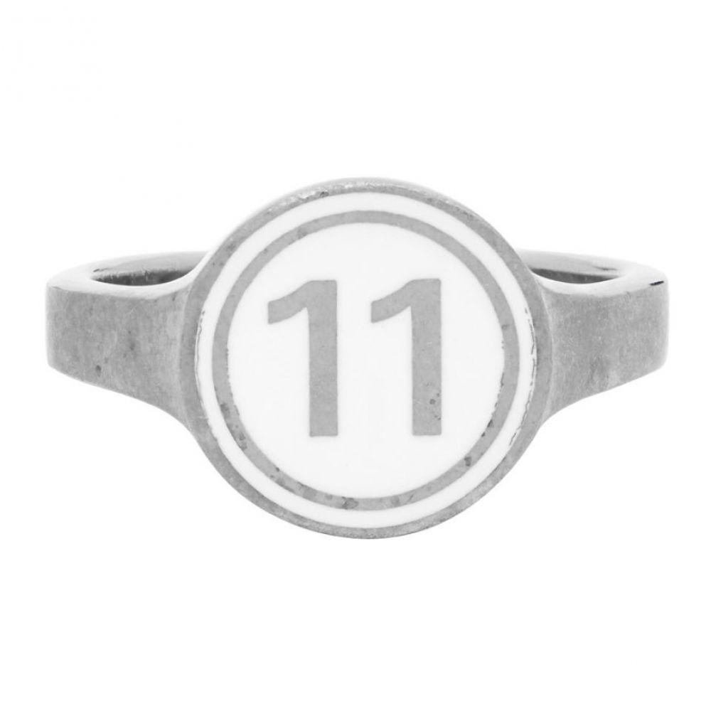 メゾン マルジェラ Maison Margiela メンズ 指輪・リング ジュエリー・アクセサリー【Silver Enamelled Logo Ring】Silver/White