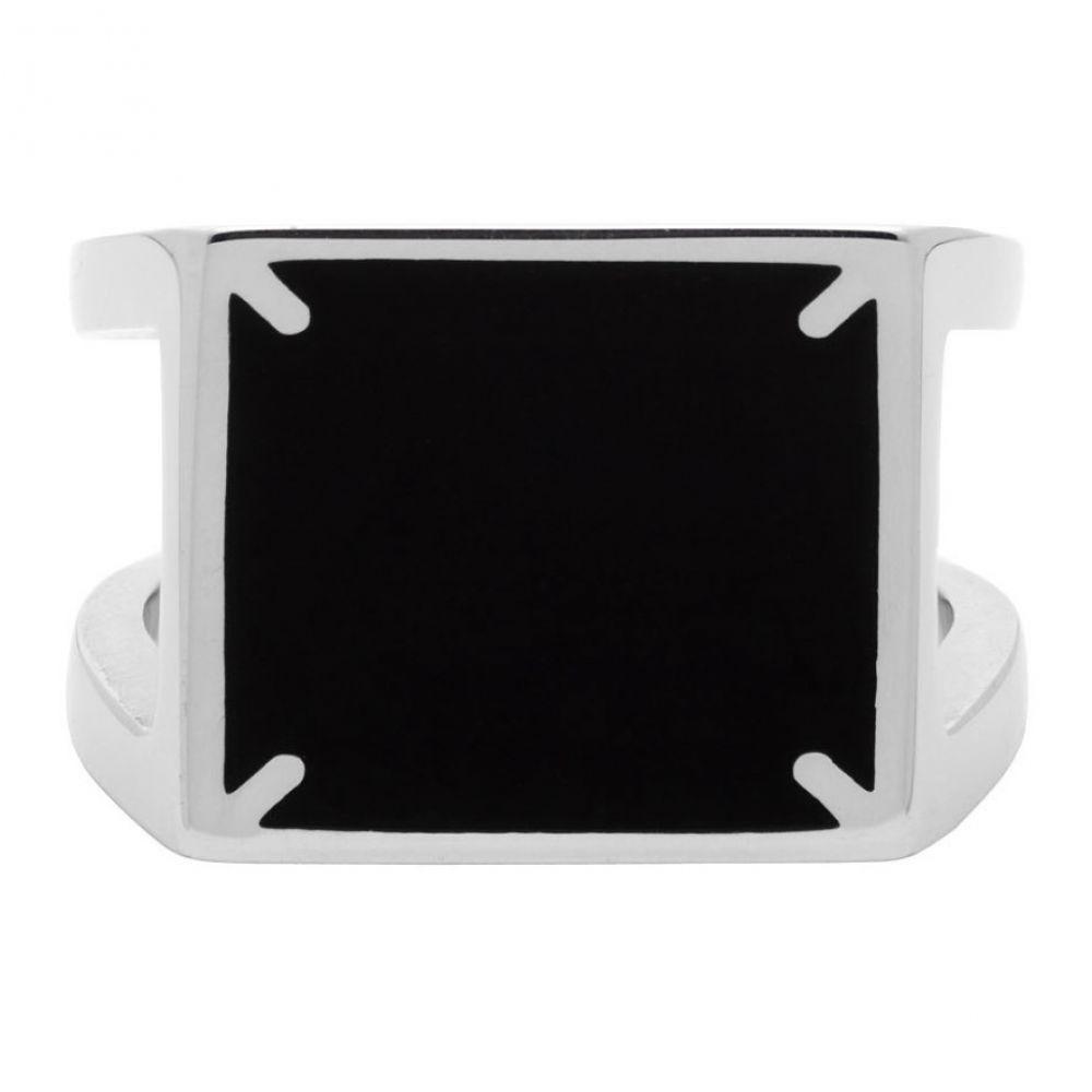 メゾン マルジェラ Maison Margiela メンズ 指輪・リング ジュエリー・アクセサリー【Silver & Black Enameled 4-Stitches Ring】Silver/Black