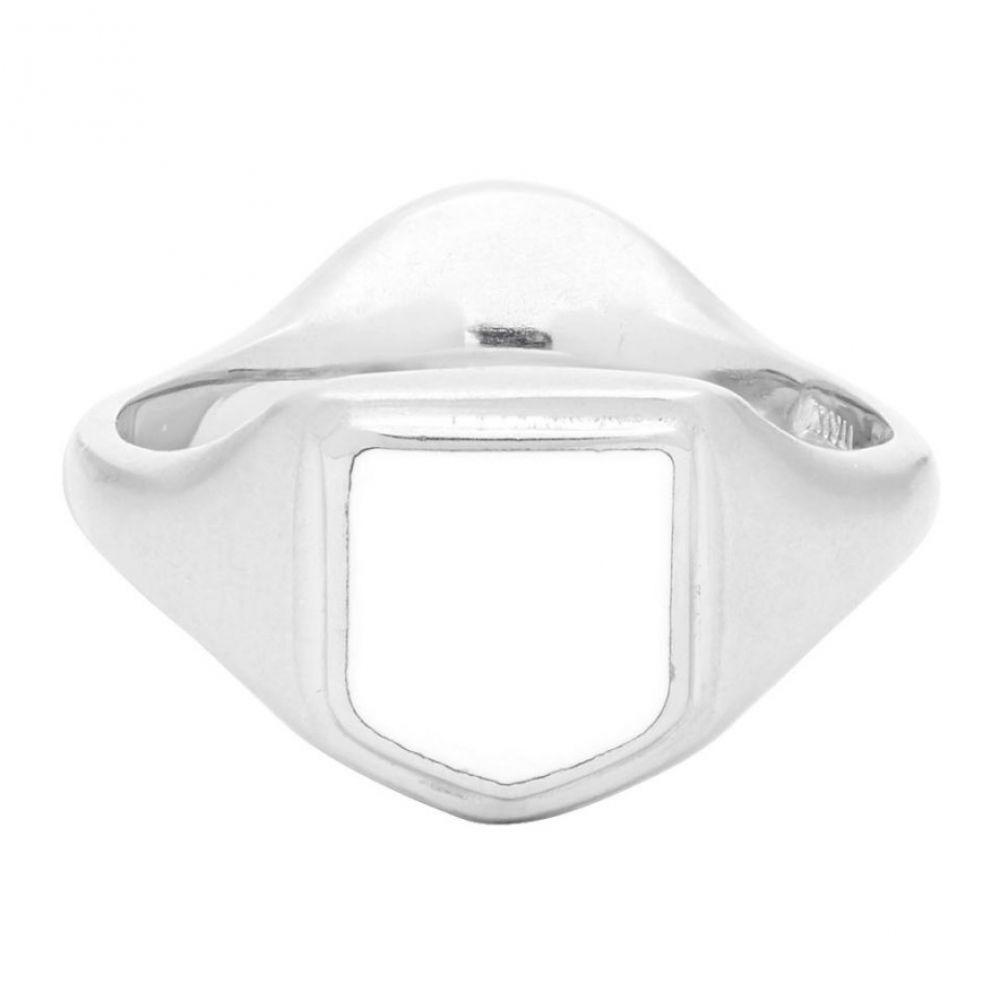 メゾン マルジェラ Maison Margiela メンズ 指輪・リング ジュエリー・アクセサリー【Silver & White Enameled Ring】Silver/White