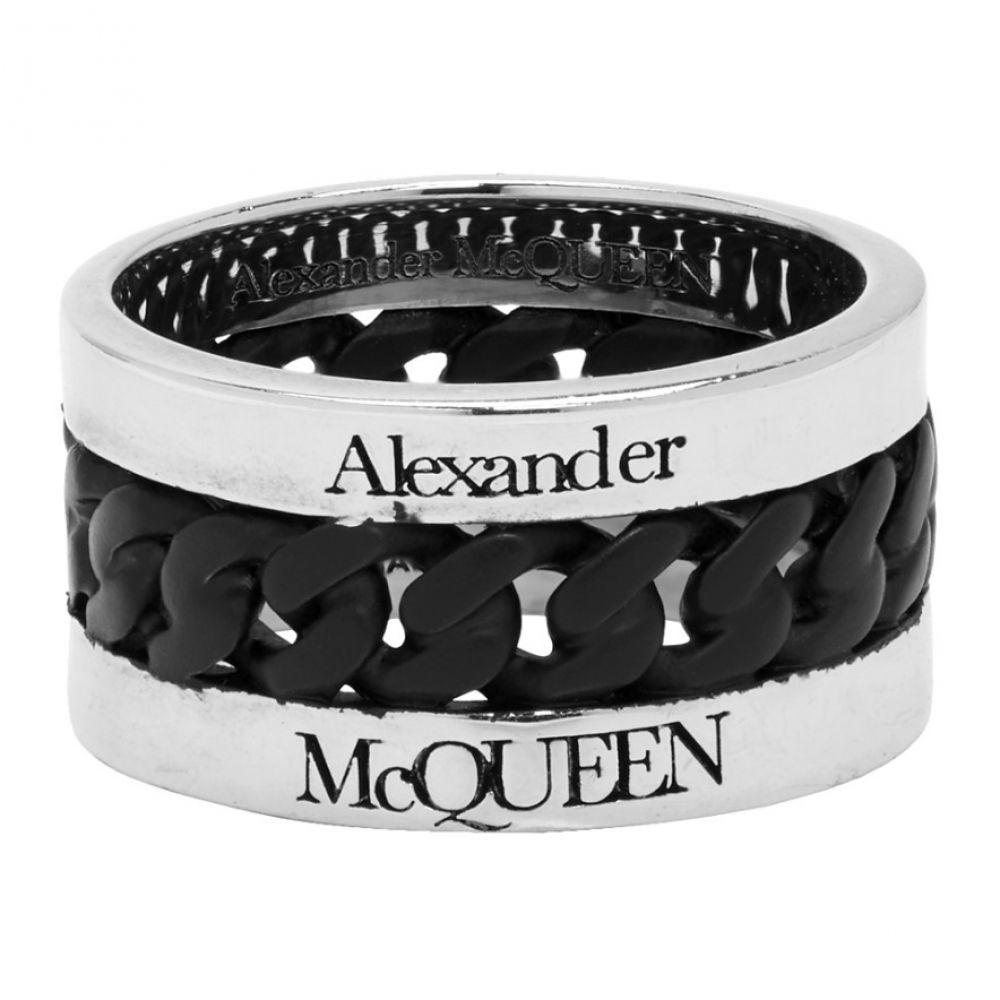アレキサンダー マックイーン Alexander McQueen メンズ 指輪・リング ジュエリー・アクセサリー【Silver & Black Chain Ring】Silver/Black