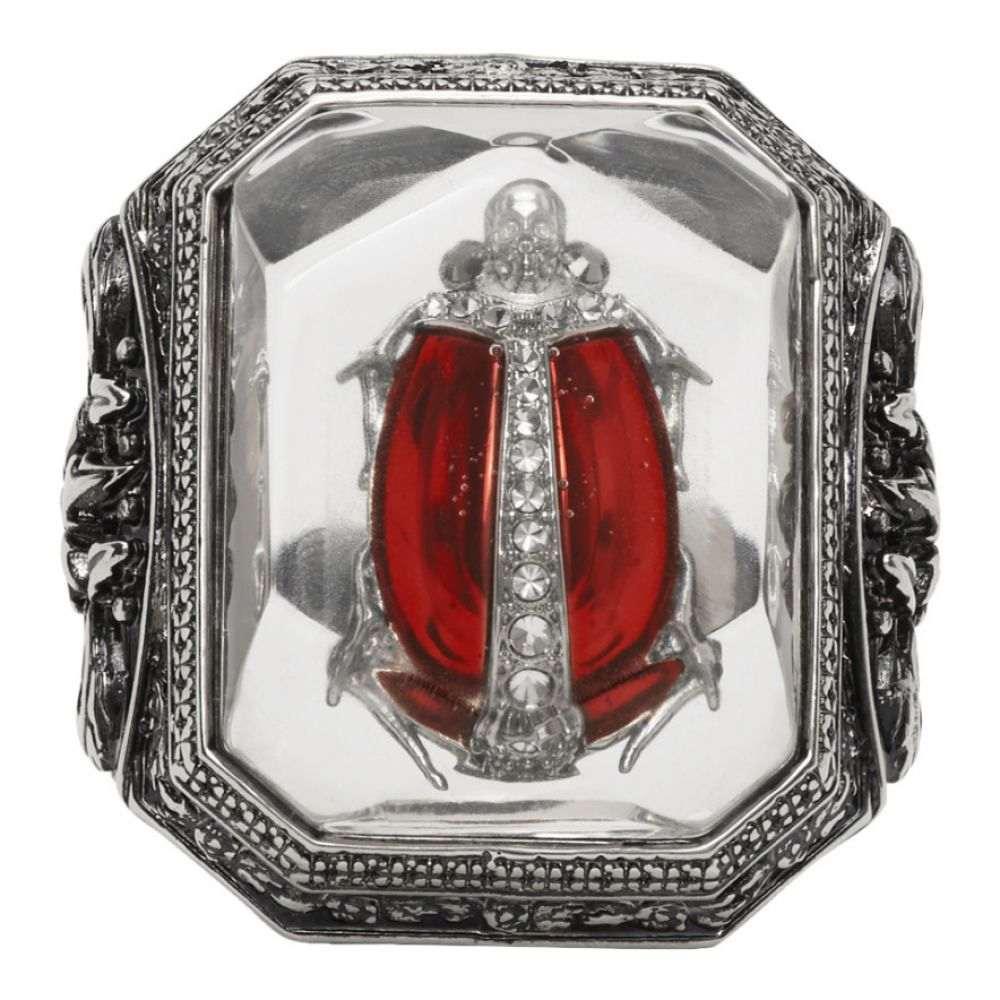 アレキサンダー マックイーン Alexander McQueen メンズ 指輪・リング ジュエリー・アクセサリー【Silver Beetle Resin Ring】Silver