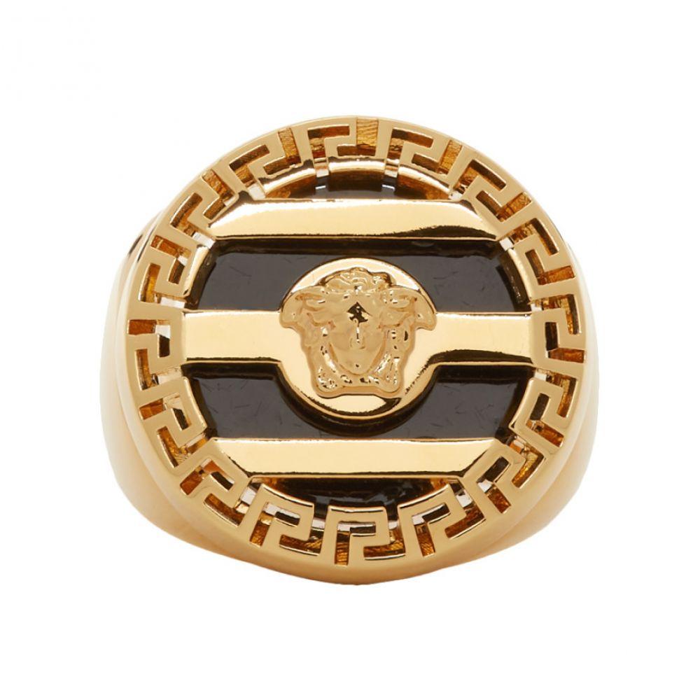 ヴェルサーチ Versace メンズ 指輪・リング メデューサ ジュエリー・アクセサリー【Gold & Black Medusa Ring】Gold