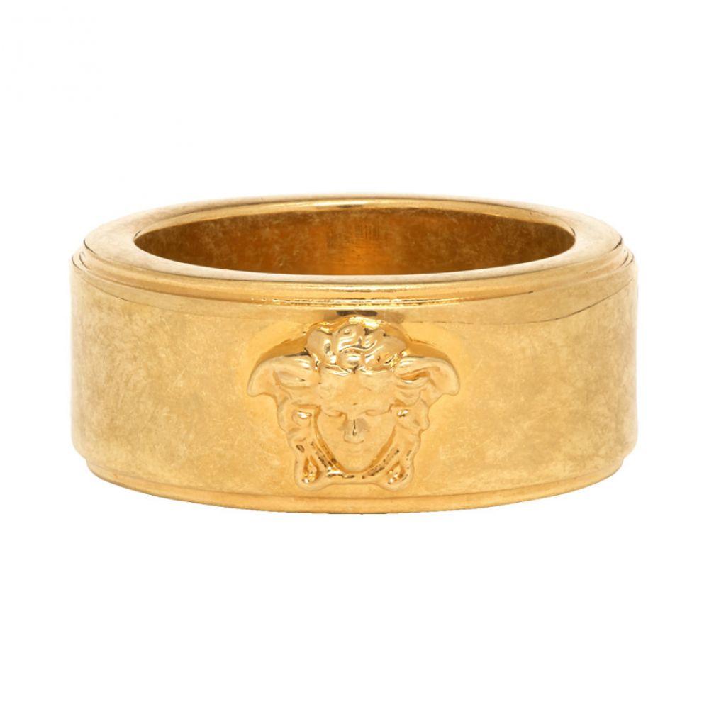 ヴェルサーチ Versace メンズ 指輪・リング ジュエリー・アクセサリー【Gold & Black Logo Ring】Gold/Black