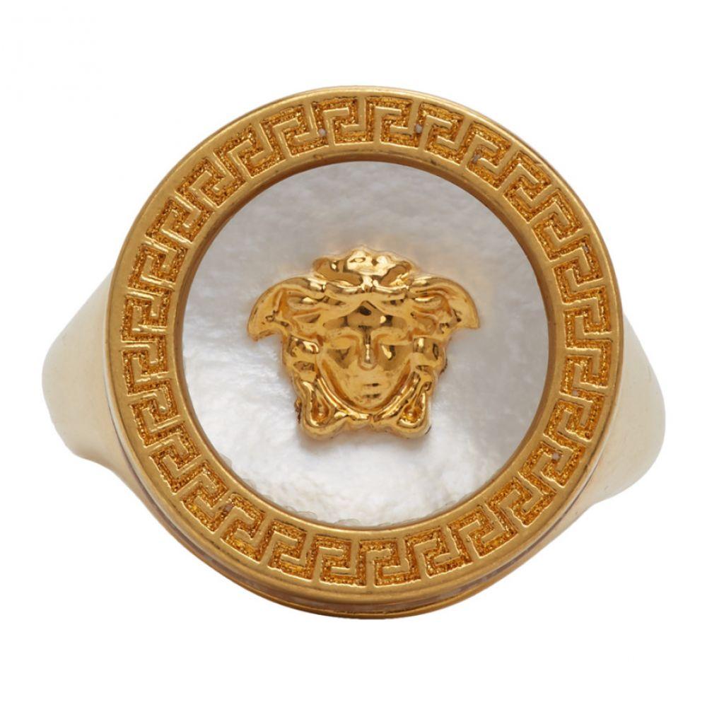 ヴェルサーチ Versace メンズ 指輪・リング メデューサ ジュエリー・アクセサリー【Gold Medusa Pearl Ring】Gold