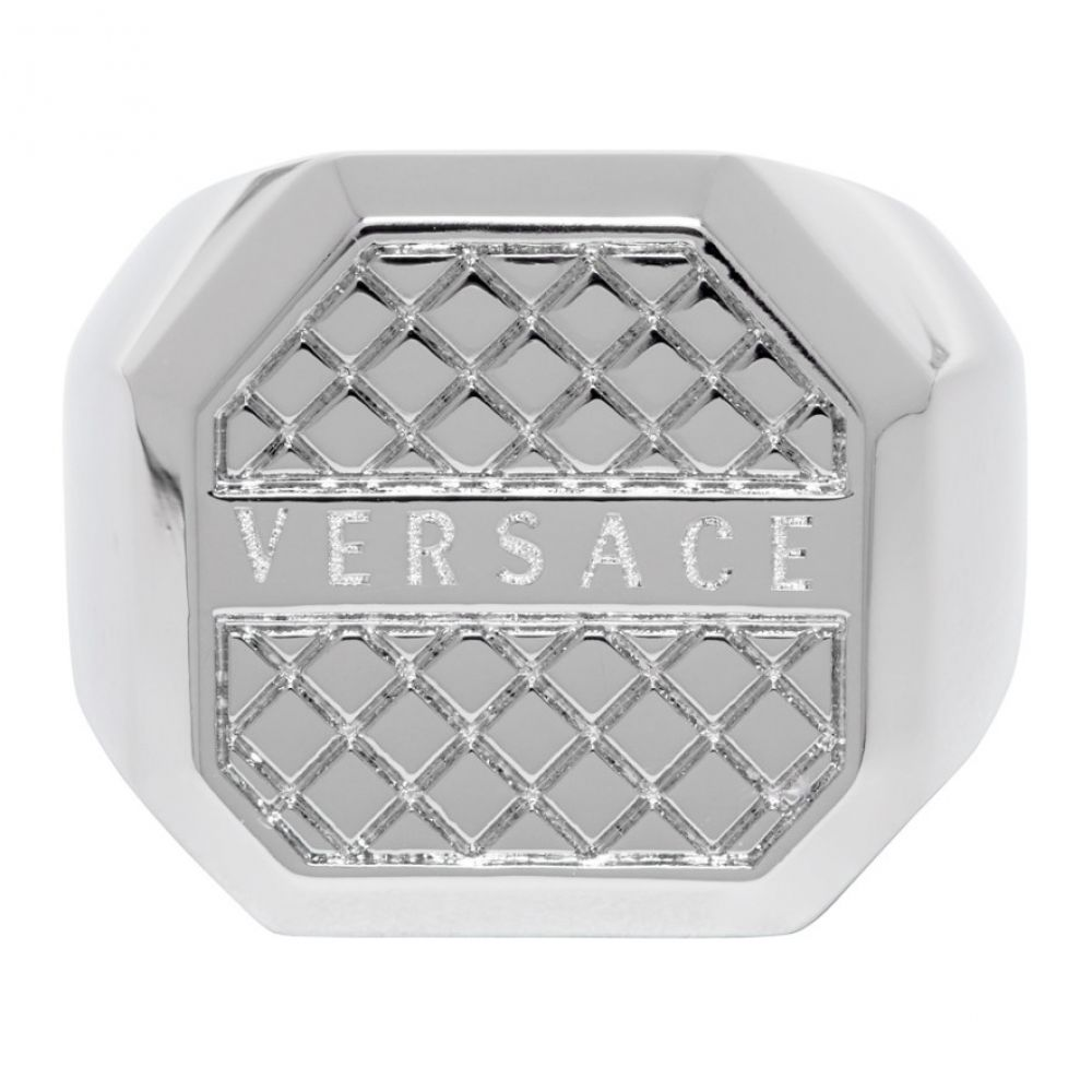 ヴェルサーチ Versace メンズ 指輪・リング ジュエリー・アクセサリー【Silver Octagonal Ring】Palladium