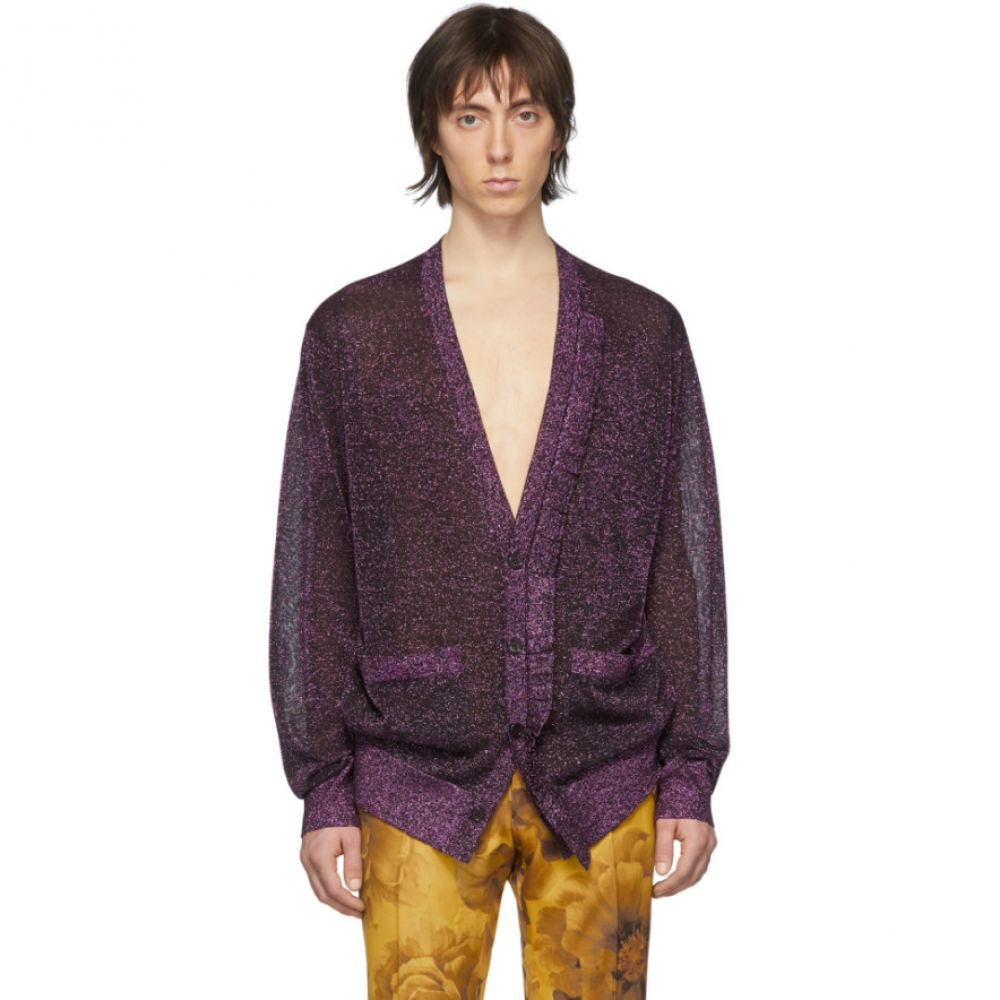 ドリス ヴァン ノッテン Dries Van Noten メンズ カーディガン トップス【Purple Jaxson Metallic Cardigan】Fuchsia