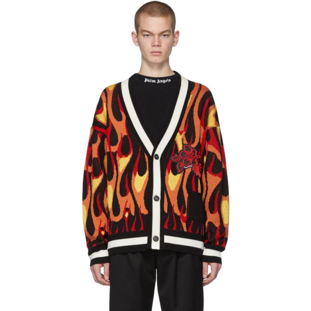パーム エンジェルス Palm Angels メンズ カーディガン トップス【Multicolor Wool Flames Cardigan】Black/Multicolor