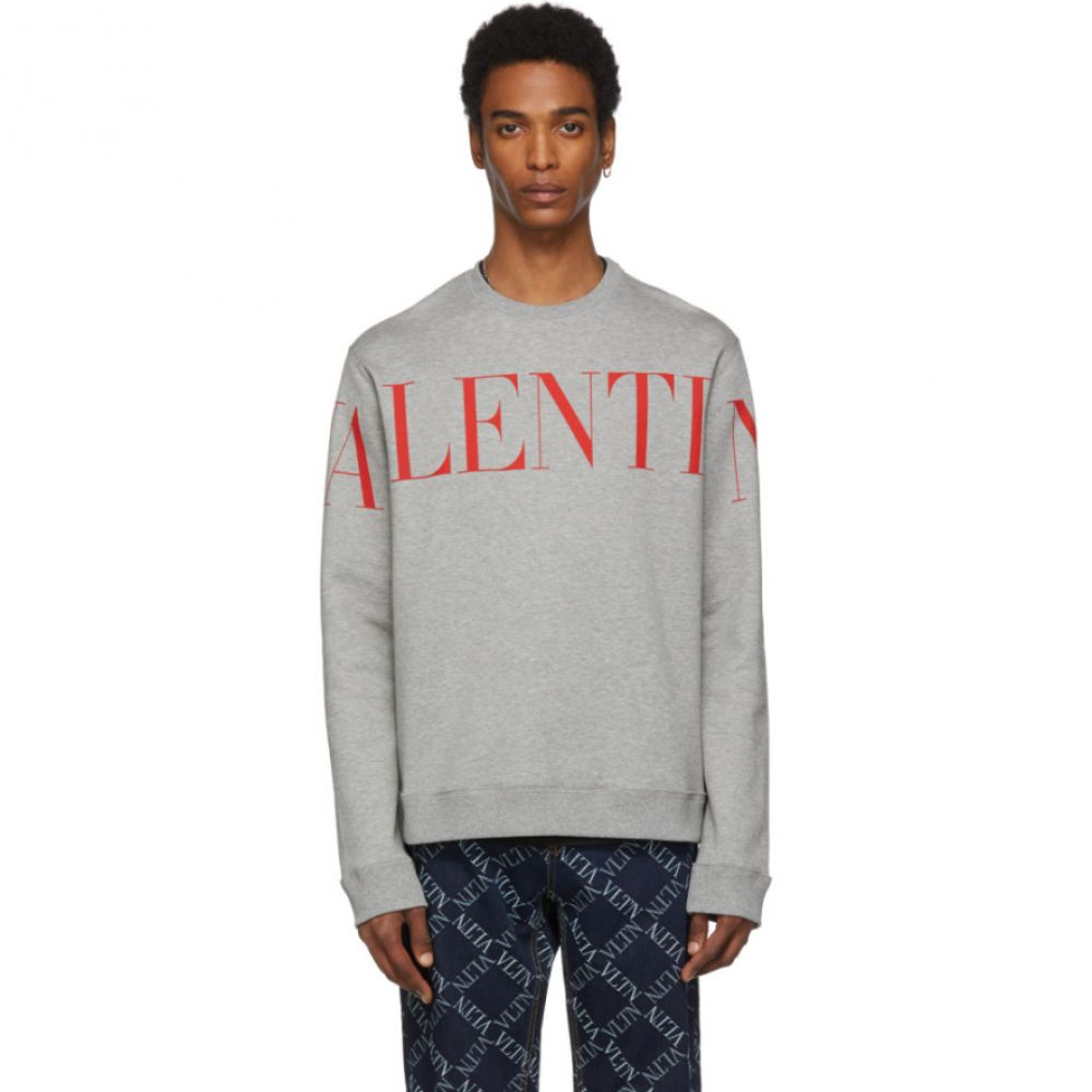 ヴァレンティノ Valentino メンズ スウェット・トレーナー トップス【Grey & Red Logo Sweatshirt】Grigio