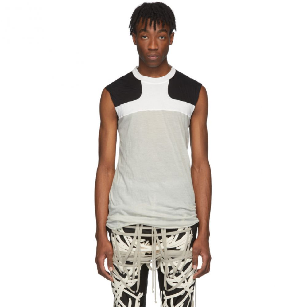 リック オウエンス Rick Owens メンズ タンクトップ トップス【Off-White & Black Release Combo Lupetto Tank Top】Pearl/Chalk white/Black