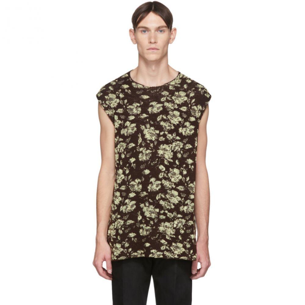 ジル サンダー Jil Sander メンズ ベスト・ジレ トップス【Brown Knit Wool Vest】Open brown