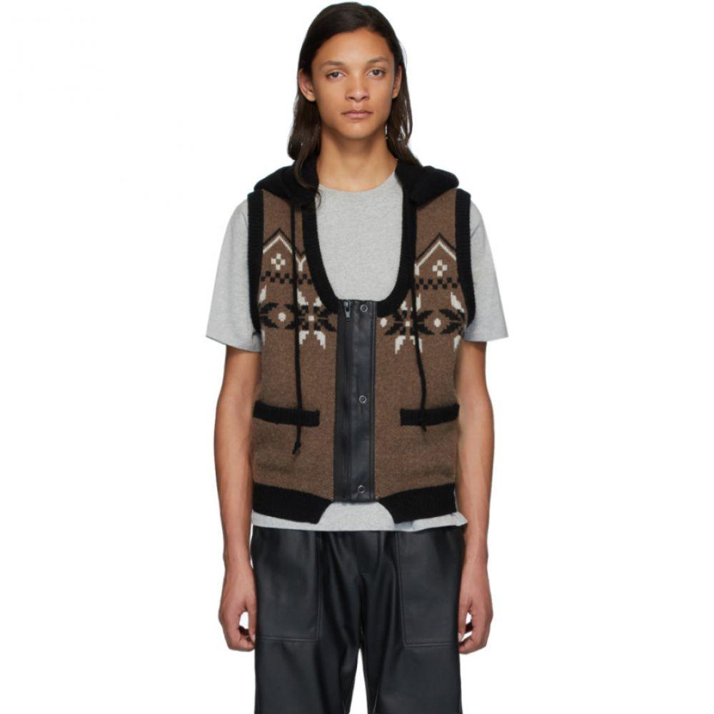 ジーアール ユニフォーマ GR-Uniforma メンズ ベスト・ジレ トップス【Brown Hoodie Vest】Brown