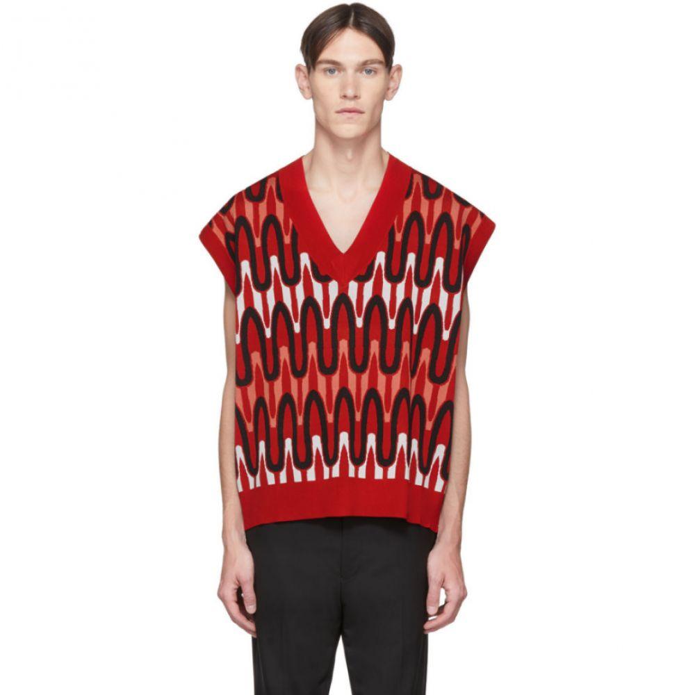 ニール バレット Neil Barrett メンズ ベスト・ジレ トップス【Red Scribble Striped Sweater Vest】Red/Black/White