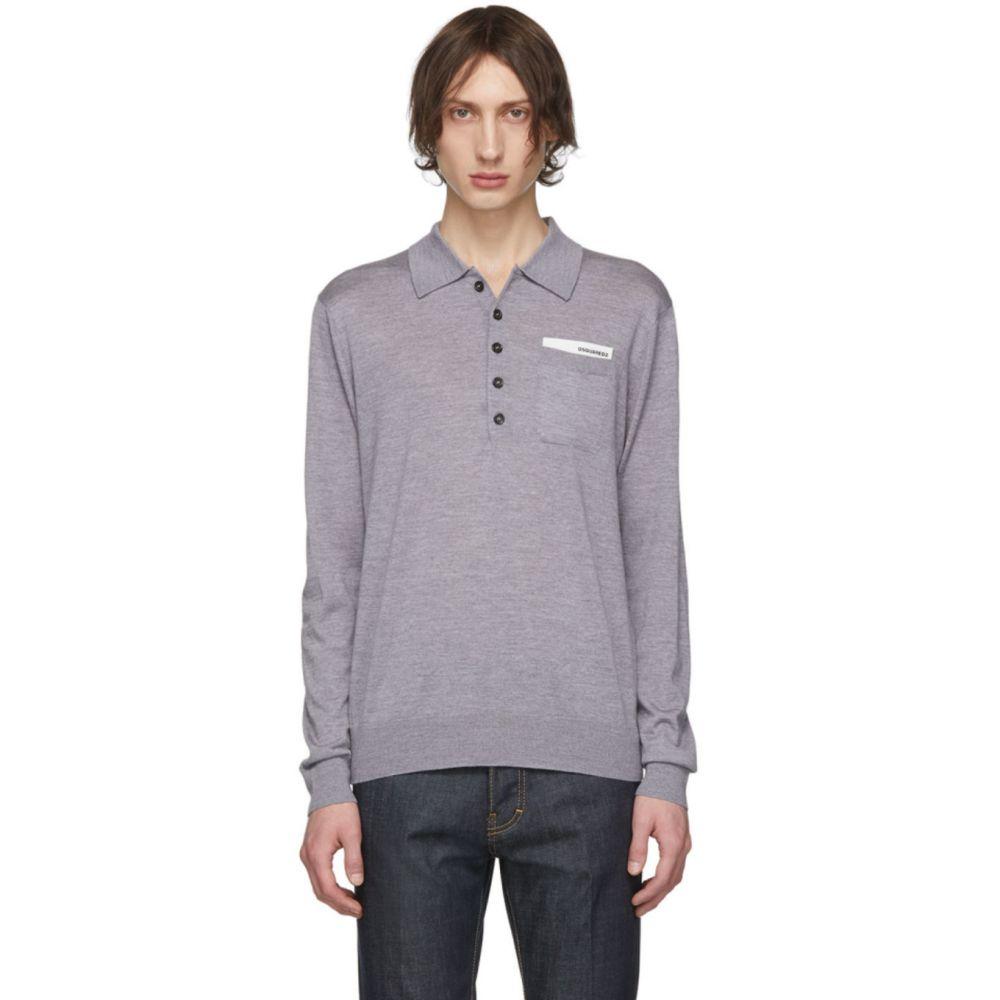ディースクエアード Dsquared2 メンズ ポロシャツ トップス【Grey Pocket Long Sleeve Polo】Grey melange
