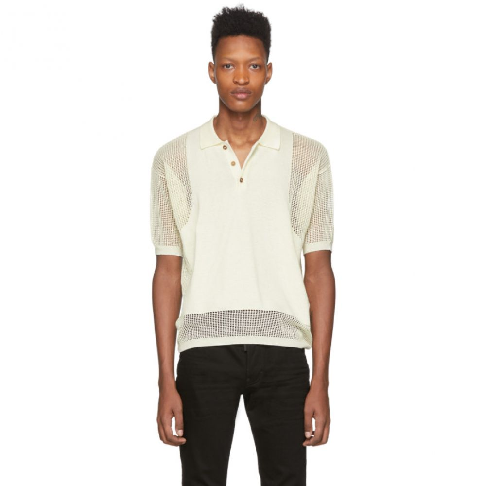 ディースクエアード Dsquared2 メンズ ポロシャツ Vネック トップス【Off-White Mesh V-Neck Polo】Off-White