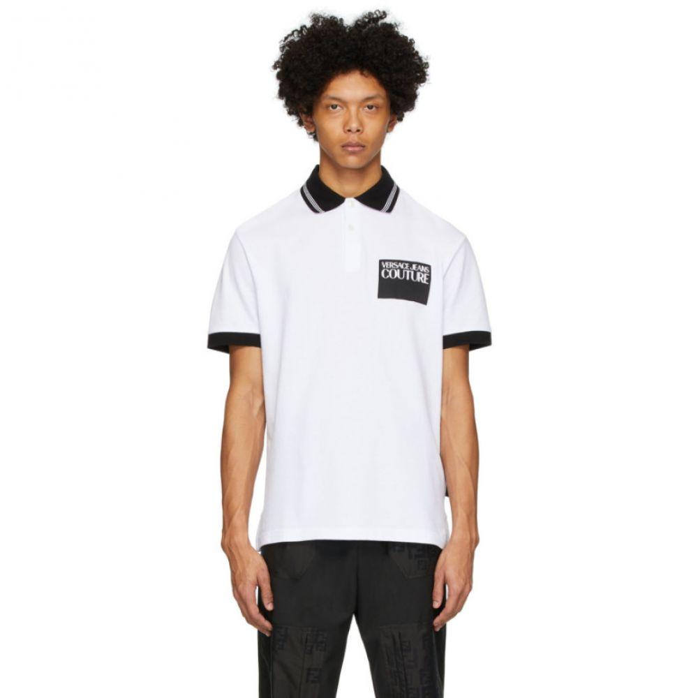 ヴェルサーチ Versace Jeans Couture メンズ ポロシャツ トップス【White Institutional Logo Patch Polo】White